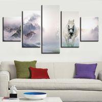 pinturas abstractas caballos al por mayor-Lienzo HD Prints Pinturas Arte de la pared Frame 5 Piezas Foggy Forest Wolves Caballos salvajes Póster Modular Home Decor Imágenes abstractas