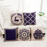 Wholesale chinese pillowcases resale online - Classical Linen Pillow Case Square Chinese Style Blue And White Porcelain Pillowcases Sofa Cushions Cover Home Decor