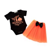 Wholesale pumpkin tutu - Halloween Baby pumpkin outfits children girls letter print romper+lace tutu Tulle Bow skirts 2pcs set 2018 fashion kids Clothing Sets C4764