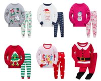 Wholesale Kids Santa Claus Pajamas - Kids Pajamas Children Christmas Sleepwear Kids Pajamas Santa Claus Pattern Top+Pants 2 pcs Clothing pajamas for 1~7 years 6 sets l