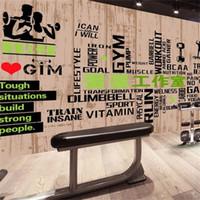 ingrosso carta da parati del club-3D Bodybuilding Murale Palestra Club Grano Lettera Sfondo Wallpaper Grande Tridimensionale Sport Wall Decor Stickers Vendita calda 25lz Ww