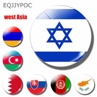 ingrosso adesivi nazionali di bandiera-10 pz bandiera nazionale Israele 30 MM magnete frigo Souvenir paesi asiatici occidentali Cupola di vetro adesivi frigorifero magnetico Home Decor