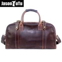 Discount large tutus - JASON TUTU Crazy Horse Leather men bag travel tote Large capacity vintage genuine leather men's travel bags HN113