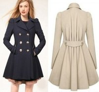 trenchcoat farbe navy beige großhandel-Mode Frauen Kleidung Trenchcoats Parka Frauen Jacken Elegant Wind Coat mit Double Button Navy Blue Solid Color Langarm Winterjacke