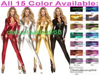 Wholesale sexy green catsuit online - New Color Shiny Metallic Suit Catsuit Costumes Unisex Sexy Bodysuit Sexy Front Zipper Body Suit Costumes Halloween Cosplay Costumes DH024