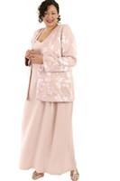 chiffon- partei-abschlussballkleid-abendkleid großhandel-Rosa Plus Size Mutter der Braut Kleider mit Jacke Spitze Satin Chiffon Applique zwei Stücke elegante Abendkleider Abendkleid Party Wear
