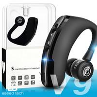 iphone kulaklık gürültüsü iptal mic toptan satış-V9 Kablosuz Bluetooth Kulaklık Iş Kulaklık Sürücü Kulakiçi Kulaklık Ile Mic Stereo CSR 4.1 Gürültü Iptal Ses Kontrolü ile paket