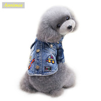 Wholesale Cheap Dog Winter Coats - 2018 Fashion Pet Cartoon Jean Coat Dogs Fashion Jacket Clothes for Chihuahua Yoreshire Teddy Puppy Newest High Quality Cheap Chothing
