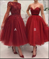 Wholesale tulle bridesmaid wedding dresses sleeves online - Cheap Two Styles Bridesmaid Dresses Lace Appliques Beaded A Line Wedding Guest Party Gowns Maid Of Honor Dresses