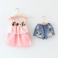 Wholesale wholesale kids clothing europe - Europe style Summer new fashion girls clothes kids sleeveless Flower Decoration dress high quality summer girl dress