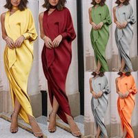 01c1ed69d515 Fashion Women Ladies One Shoulder Long Sleeve Dress Long Loose Stretch Maxi  Jersey High Waist Dresses