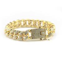 Wholesale tennis bracelets for sale - Gold Fully Iced Out Hip Hop CZ Bracelet Mens Miami Cuban bracelet Men s Luxury Simulated Bling Rhinestones Fashion Bangles hot sale
