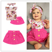 Wholesale european suit skirt - 2018 Girls Baby Childrens Clothing Set Floral tshirts Skirts Headbands 3Pcs Set Fashion Summer Girl Kids Skirt Suits Boutique Enfant Clothes