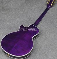 hardware de guitarra eléctrica de la más alta calidad al por mayor-Nuevo estilo de guitarra eléctrica personalizada de alta calidad, guitarra púrpura de doble cara, cabeza de la Tierra, Flame Maple Top guitarra eléctrica con hardware de oro