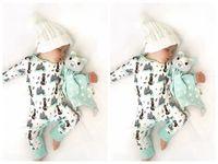 Wholesale infant fox clothing - Newborn infant baby girls boy fox romper bodysuit playsuit outfits clothes 0-24M baby clothes cotton romper