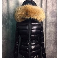Wholesale france down jackets - France Luxury Brand Real Raccoon Fur Collar Hood Down Jacket Winter Coat Women Outerwear Slim Parkas Collar Down Jacket Warm Coats