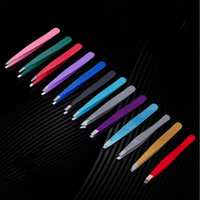 Wholesale multi coloured hair online - Colour Stainless Steel Eyebrow Tweezer Slanted Tip Beauty Keep Eyebrows Tweezers Hair Removal Cosmetology Tools Reusable zt jj