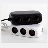 Wholesale Cigarette Lighter Power Switch - Three Way Car Cigarette Lighter Socket outlet Adapter Splitter USB Car Charger with Touch Sensor Power Switches and Display LJJM32