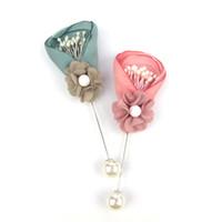 handgemachter schal rosa großhandel-Handgemachte Frauen Hochzeit Blume Revers Schal Pin Broschen Boutique Design Floral Broschen Rosa Bräutigam Schmuck Zubehör