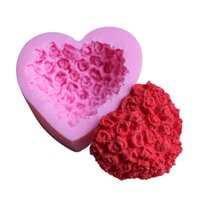 Wholesale heart shape silicone mold chocolate - Love Heart Shape Silicone Mould Pink Rose Flower Cake Baking Tools Hand Made Chocolate Pudding Mold For Valentines Day 4zy B