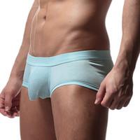 mais tamanho calcinha frete grátis venda por atacado-Boxer dos homens da marca Sexy Man Underwear Underwear Cueca Cuecas Shorts Respirável Confortável Grande Bulge Bolsa Plus Size frete grátis