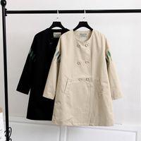 trench de mulheres mais tamanhos venda por atacado-Mulheres de alta qualidade primavera outono trincheira casaco bordado folhas de manga longa coreano windbreaker womens casual casacos plus size 5xl