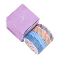 scrapbooking tapes UK - 4 Pcs Box New Simple Color Square Grid Washi Tape DIY Decoration Scrapbooking Planner Masking Tape Adhesive Label Sticker 2016