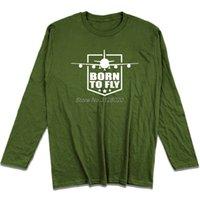 ingrosso camicie da aereo-Primavera Autunno New Man T-shirt in cotone Nato per volare Pilot Airplane Design T-Shirt da uomo Cool a maniche lunghe in cotone Tops Te Streetwear