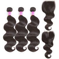 Wholesale ombre hair middle part closure for sale - Group buy 8A brazilian virgin hair extensions with closure bundle body wave straight weave with x4 middle free part lace closure inch