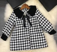Wholesale down coat linings online - 2018 Newest baby Girls coat winter autumn children long clothes Bow warm outerwear black white colors