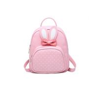 ingrosso borsa posteriore piccola-Kajie 2018 Zaini piccoli per ragazze adolescenti Bunny Cute zaino donna in pelle a pois con fiocco Borsa posteriore rosa Feminina
