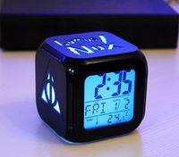 relogios usados venda por atacado-NOVA HP Relógio 3D casa Crianças quarto decoração estéreo despertador cor luz uso USB baterias LED cor luzes
