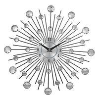 cristaux d'art en métal achat en gros de-Horloge murale décorative en métal Sunburst en métal