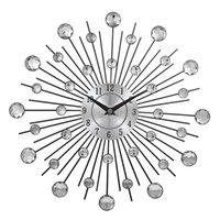 cristales de arte de pared de metal al por mayor-Reloj de pared de metal decorativa de Sunburst de cristal Reloj de pared de decoración de arte casero 13 pulgadas