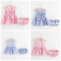 Wholesale childrens ball dresses - Girls Baby Childrens Clothing Sets Bow Striped Dresses+Shorts 2Pcs Set Summer Cotton Bow Princess Dress Boutique Clothes Outfits