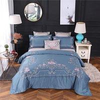 королевский синий лист оптовых-4/7pcs Blue Pink  Royal Embroidery 60S Egyptian Cotton Bedding Set Queen King Size Duvet Cover Bed sheet/Linen Pillowcases