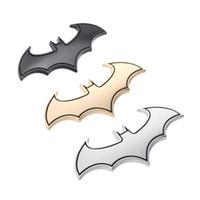 batman amblemi çıkartmaları toptan satış-3D Araba Çıkartmaları Serin Metal Yarasa Oto Logo Araba Styling Metal Batman Rozet Amblem Kuyruk Çıkartması Motosiklet Araba Aksesuarları Otomobiller