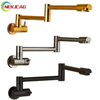 Wholesale black kitchen taps online - Single Lever Rotate Folding Spout Bathroom Kitchen Faucet Wall Mount Cold Water Sink Tap Chrome Black Brushed Nickel Golden