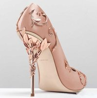 Wholesale Wear Ballet Women - 2018 Ralph&Russo Pearl Pink Stain Gold Leaves Bridal Wedding Shoes Modest Fashion Eden High Heel Women occasion party shoes wear