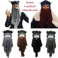 Wholesale crochet hat horns for sale - Group buy Knitted Beard Beanie horn Mask cap Handmade Barbarian Vagabond Funny Halloween Hat Chirtsmas gift Crazy Ski pirate Crochet Cap FFA950