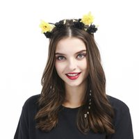 Wholesale Artificial Crystals For Decoration - Cat Ears Headbands for Women Hair Artificial flowers Princess Hollow Hairband Cat's ears Bezel Hair Accessories birthday Party decoration