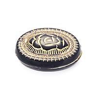 flache plastikcharme großhandel-50 stücke Flache Oval Rose Muster Carving Kunststoff Lose Perlen Gold Gefüttert Spacer Charme Antiken Design Perlen Für DIY Schmuckherstellung