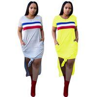 Wholesale bohemian wear - Women Summer Clothes Yellow Gray Long Dress Patchwork Color Light Dresses Short Sleeves Cotton Blend Wear