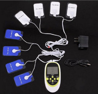 electrodos de decenas de unidades al por mayor-Masajeador multifuncional de salida doble 8 electrodos almohadillas TENS EMS MASSAGER MACHINE / TENS UNIT / Pulso electrónico / estimulador muscular
