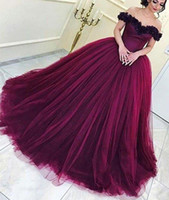 Wholesale Wine Red Elegant Evening Gown - 2018 New Arrival Puffy Wine Red Quinceanera Dresses Elegant Off Shoulders Ball Gown Prom Dresses Formal Evening Gowns Backless Arabic BA7536