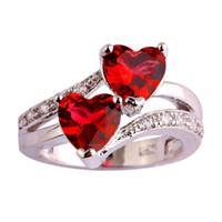 anillo de amor de diamantes de imitacion al por mayor-Anillos del corazón doble de las mujeres Shinning Red Love Heart Rhinestones Anillos de Boda para Mujeres Chica Regalo Femenino