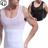 Wholesale Corset Belt Abdomen - wholesale Mens waist Trainer Belly Slimming belt Body Shaper Gynecomastia Vest Chest Binder Posture Corset Male Abdomen Back Cross Tops