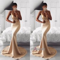 Wholesale occasion elastic spaghetti special dresses resale online - Sexy Spaghetti Strap Gold Sequined Mermaid Prom Dress Pageant Dress V Neck African Sweep Train Evening Gowns Special Occasion Dresses