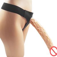 grande pênis lésbica venda por atacado-Strapon Ventosa Dildo Com Arnês Para Lésbicas Sexo Anal Extremo Grande Super Enorme Longo Penis Strap-on Ultra Calcinhas