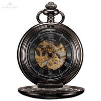 manecillas del reloj analógico al por mayor-KS retro negro esqueleto caja de aleación mano viento mecánico reloj de cadena larga Steampunk estilo analógico joyería reloj de bolsillo / KSP047